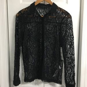 Zara lace button up top